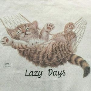 Vintage 90's Lazy Days Kitten Hammock Sweatshirt